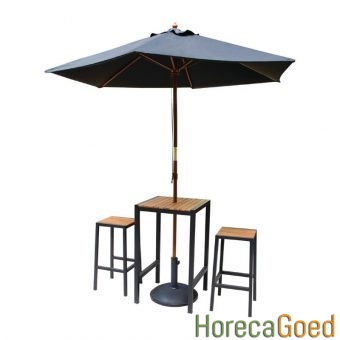 Horeca buiten outdoor meubilair industriële bartafel met barkruk 1