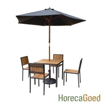 Horeca buiten outdoor meubilair industriële tafel met stoelen 1